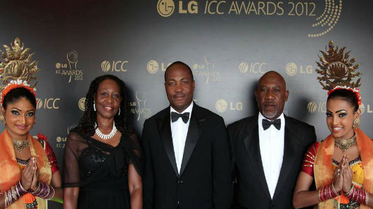 Brian Lara & Family after inducted @ ICC Hall of Fame